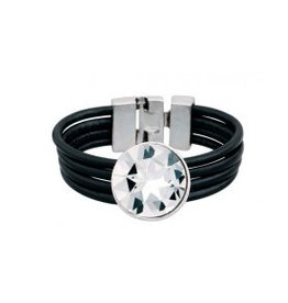 Fashion Jewelry Armband Zwart Leer met Steen