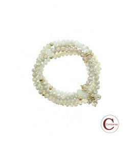 Constansa Plus Size Kralen Armband Ivoor - Off White