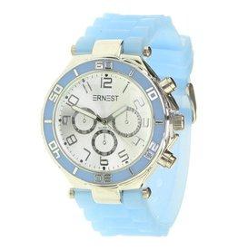 Ernest Horloge Silver Case Light Blue 7043