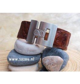 """B & L Lederen Armband """"Snake""""Cognac BL 0217"""