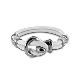 New Bling Armband wit leer met beads en lus sluiting