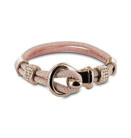 New Bling Armband zacht roze leer met beads en lus sluiting Rose
