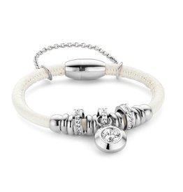 New Bling Armband wit leer met beads en hanger