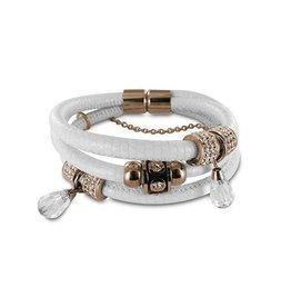 New Bling Armband wit leer met beads