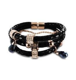 New Bling Armband zwart leer met beads