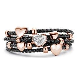 New Bling Armband zwart leer met hart beads