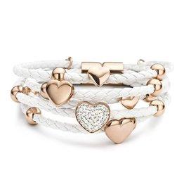 New Bling Armband wit leer met hart beads