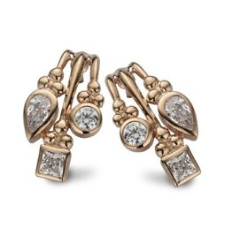New Bling Zilveren Oorstekers Wit CZ Rosé Gold Plated
