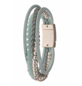 Fashion Jewelry Armband Aqua met Leer en Crystal