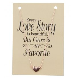 Fashion Jewelry KK-B-A22.2 Kaart Ketting Every Love Story Chain Heart Rose Gold