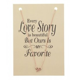 Fashion Jewelry KK-D-C22.3 Kaart Ketting Every Love Story BOW Rose Gold