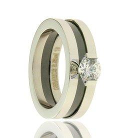 Fashion Jewelry RVS Ring Zwart-Zilver