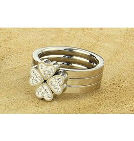 Fashion Jewelry RVS Ringen set Klaver-Hart