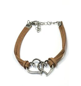 Fashion Jewelry Armband Double Heart Brown