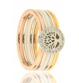 Fashion Jewelry Ring Stainless Steel (RVS) Tree-White