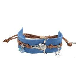 Yehwang Armband Boho Charms Blue