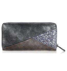 Yehwang Portemonnee Triangles Grey Glitter