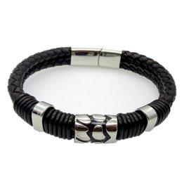 Sazou Jewels Armband Leer met Stainless Steel charms en magneetslot