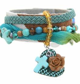Gina Nina Armband leer Bontje Blauw Turquoise 0004-001