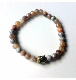 Armband Natural Stones - Turquose - 8mm Met Shakyamuni hoofd Stones : 8 mm  armband: 20 cm