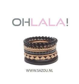 Ohlala Ring Set Black-Rose