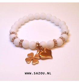 Sazou Jewels Armband Natural Stones Onyx Agaat Mat Wit SZ84