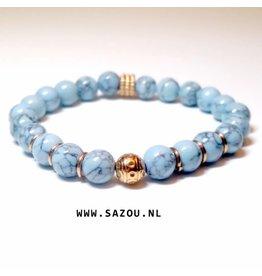 Sazou Jewels Armband Natural Stones Turquoise met marmer look SZ828