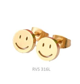 Fashion Jewelry Oorknopjes Smiley RVS Gold Plated