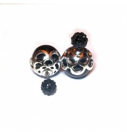 Sazou Jewels Double Dots Black Silver Fantasy Oorbellen