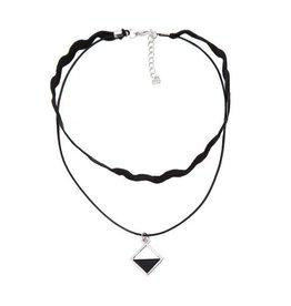 Fashion Jewelry Choker Black Rhombus Silver - 2013