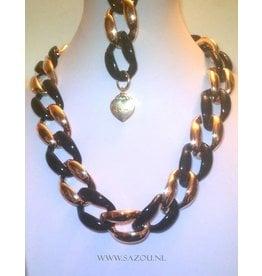 Fashion Jewelry Ketting Set Gold Black Beauty