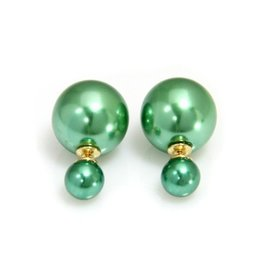 Sazou Jewels Double Dots Shiney Green Oorbellen