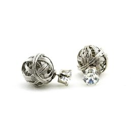 Sazou Jewels Double Dots Silver Grey Daimond Knot Oorbellen