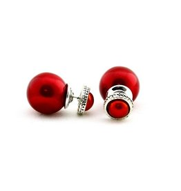 Sazou Jewels Double Dots Red Classic Oorbellen