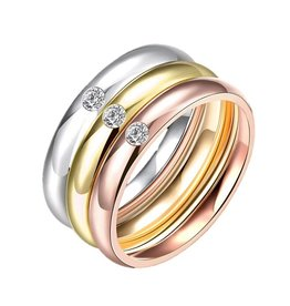 Fashion Jewelry Ringen Set Three Colore Stainless Steel met Zirkonia