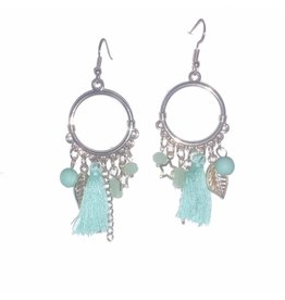 Fashion Jewelry Oorbellen Feather Blue Gold