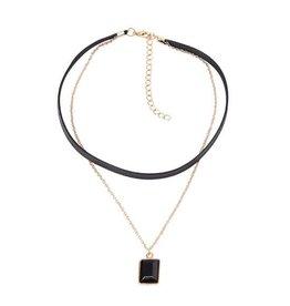 Fashion Jewelry Choker Kettinkje Black Rectangle Gold -  2018