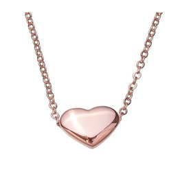 Fashion Jewelry Ketting Stainless Steel Rose Plated met Hart