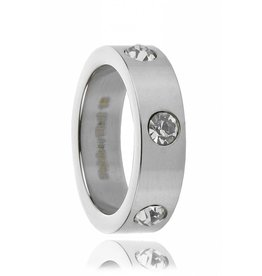 Ring Stainless Steel (RVS) Zirkonia Shiney Silver