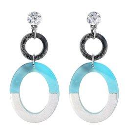 Yehwang Oorbellen Stekers Double Circels Blue