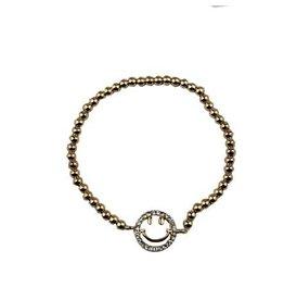 Fashion Jewelry Armband Shiny Smiley Gold