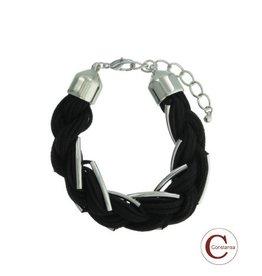 Constansa Plus Size Armband Black Silver