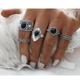 Fashion Jewelry Ring Set Black Bohemian