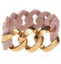 Armband Schakel Rubber Oud Roze - Roze Gold