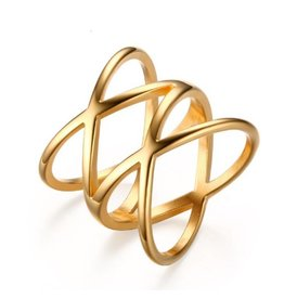 Fashion Jewelry Ring Stainless Steel 36L Double X Gold Plated
