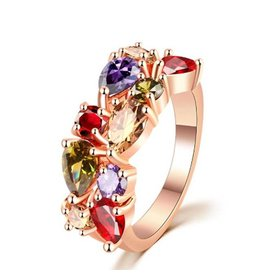 Fashion Jewelry Ring Rose Gold Plated Colorfull
