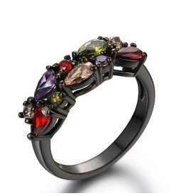 Fashion Jewelry Ring Black Plated Colorfull