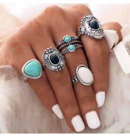 Fashion Jewelry Ring Set Bohemian Black-White-Blue