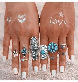 Fashion Jewelry Ring Set Bohemian Turquoise