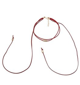 Fashion Jewelry Ketting Choker Veter Diep Rood